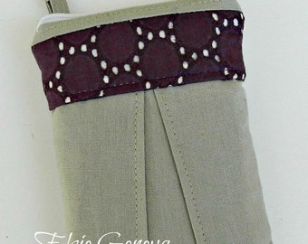 Sale Ready to Ship The Skirt Phone Case with Wristlet Solid Driftwood Natural Japanese Linen and Deep Wine Plum Lace Grey iPhone 4 5