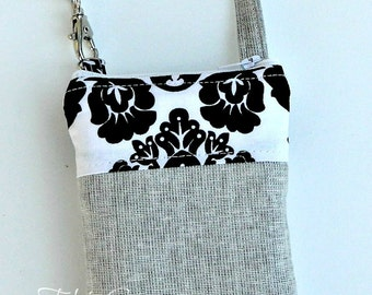 Grey Japanese LInen and Black White Damask Phone Case w/ Wrisltet or Shoulder Strap iPhone 4 5 6 Plus Samsung Note Xperia