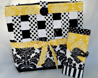 Choose Any Fabric in My Shop or Black and Yellow Knitting Case Organizer and Matching LargeTote Combo Design Your Own