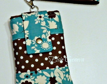 Turquoise & Brown Dots and Floral Phone Case with Wristlet Optional Shoulder Strap iPhone 4 5 6  Plus Note Large Smartphone