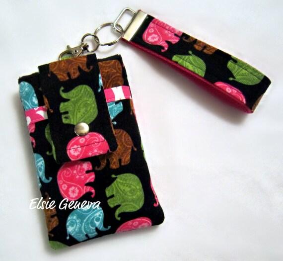 Elephant  Phone Case with Wristlet Optional Shoulder Strap - Black Corduroy Pink Blue Green - Made to Order