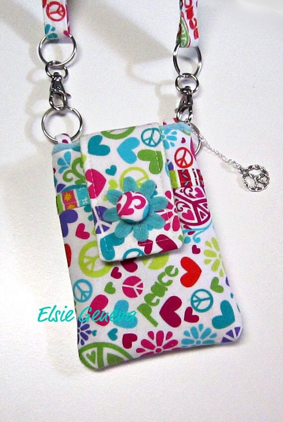 Peace Sign & Love  Phone Case with Shoulder Strap with Back Zipper Pocket