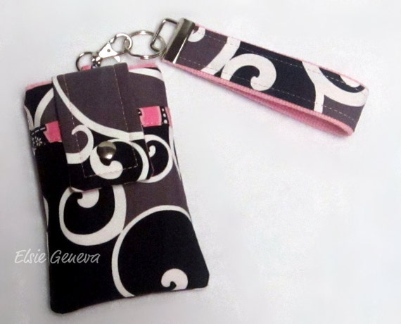 Give Me Paris Black, Taupe and White Swirls & Pink Eiffel Towers Phone Case with Wristlet