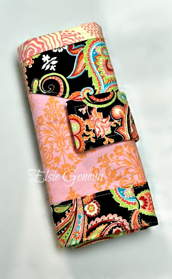 Brown and Pink Paisley & Damask Crochet Hook Organizer / Case with Finishing Needle Flower