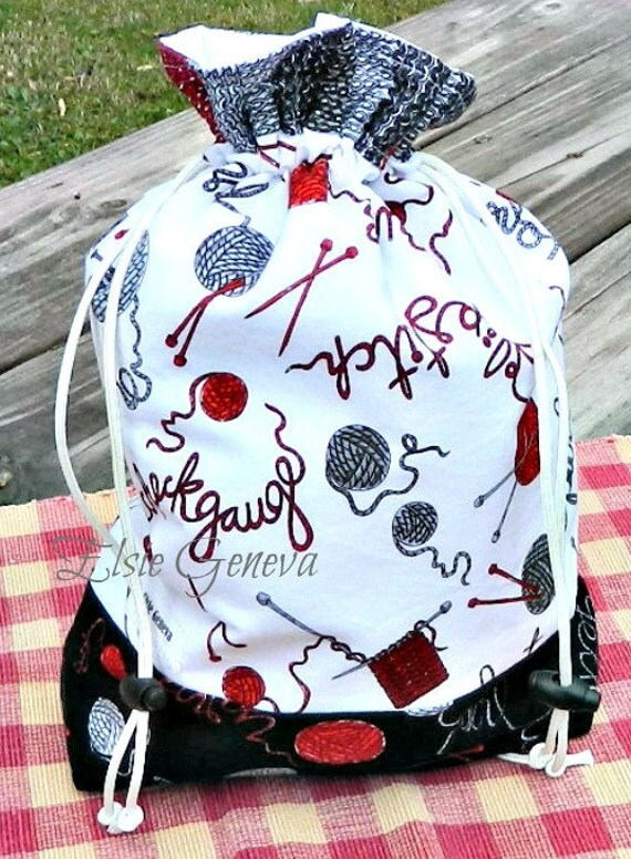 Large Project / Drawstring Bag w Wristlet - Choose  Any Fabric in My Shop