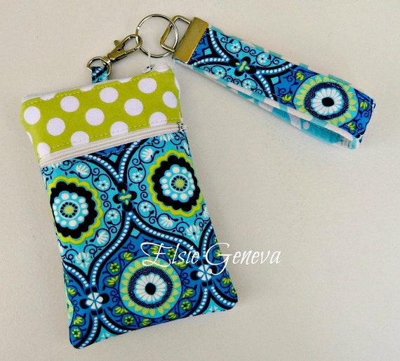 Aqua & Blue with Lime Dots iPhone Case with Zipper Closure and Wristlet w/Front Zipper Pocket