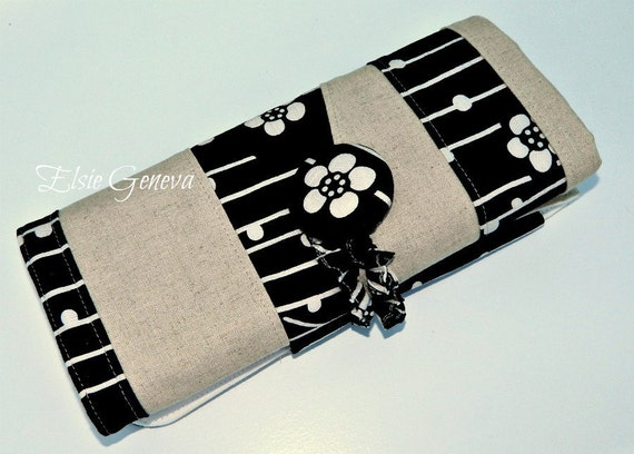Black and Natural Japanese Linen Cherry Blossom Fabric Combo  Large DPN - Crochet - Interchangeable  Knitting Needle Organizer - Case - Roll