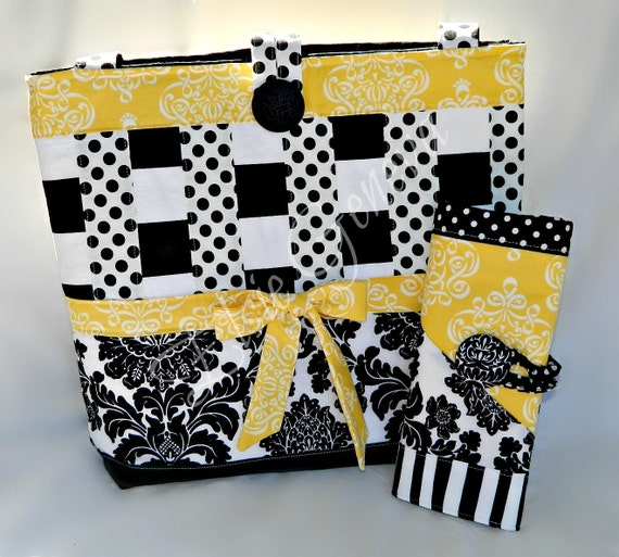Knitting Case & Project Bag Combo Choose Any Fabric in My Shop or Black and Yellow  Organizer and Matching Large Tote Design Your Own