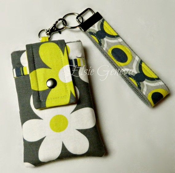 SALE:  Grey & Yellow Flowers Phone Case with Wristlet and  Back Zipper Pocket Ready to Ship