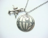 Globe Airplane Necklace - Travelers Necklace In Silver - Globe Trotter