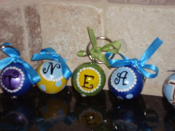 Handpainted Wooden Ball Keychains