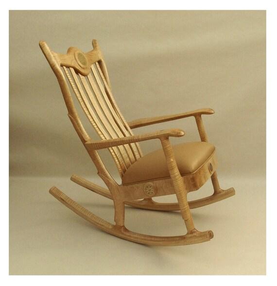 Custom Handmade Upholstered Seat Rocker