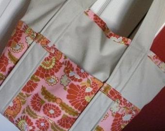 Pink Flower Print Tote Bag