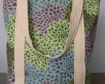 Spring Flower Print Tote Bag