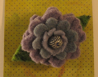 Felted wool flower pin- flower brooch- lapel pin- folk art flower