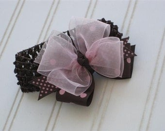 Brown & Pink Bow, Brown and Pink Polka Dot Headband Bow, Brown and Pink Hair Bow, Polka Dot Hair Bow, Brown Headband, Baby Headband