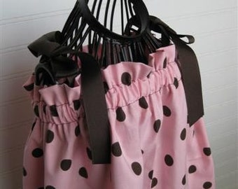 Pillowcase Dress:  Pink and Brown Polka Dot Pillowcase Dress sz 3T, Summer Dress, Sundress,Toddler Dress, CLEARANCE SALE