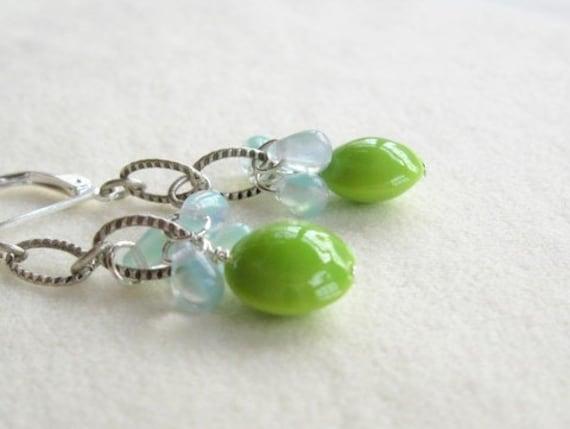 Lime Green ceramic bead and aqua tear drops earrings