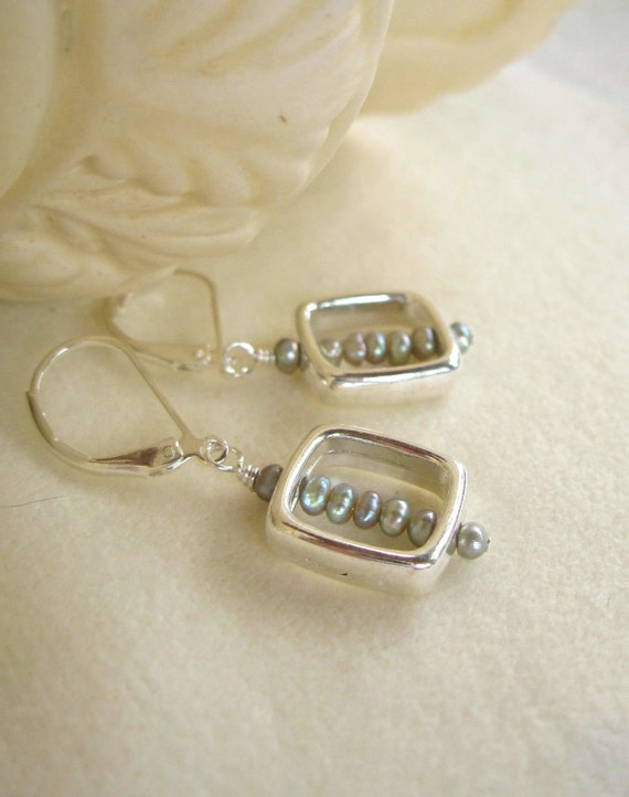 Silver square hoop dangle earrings with tiny green, gray pearls