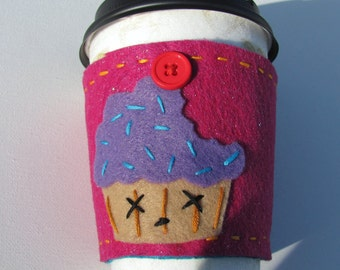 CLEARANCE Dead cupcake coffee or drink cozy felt reversible