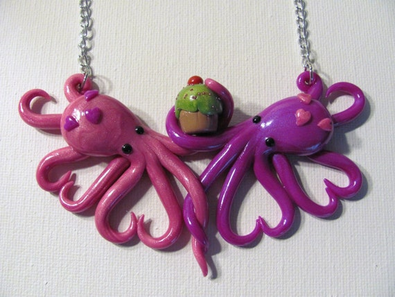 Intertwined Octopi fighting for a cupcake