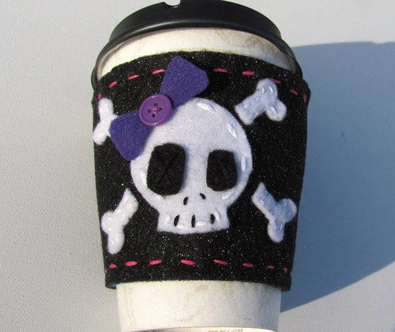 reversible glitter Skull and cross bones  felt coffe cozy black heart