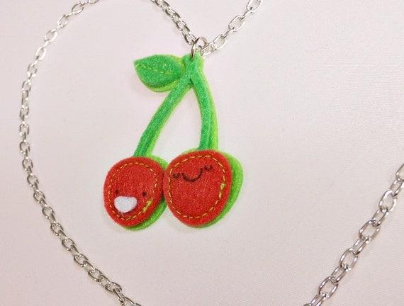 CLEARANCE Cherry felt necklace