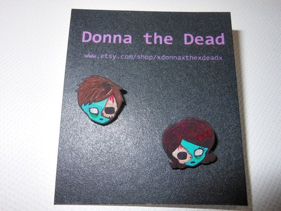 boy and girl zombie stud earrings
