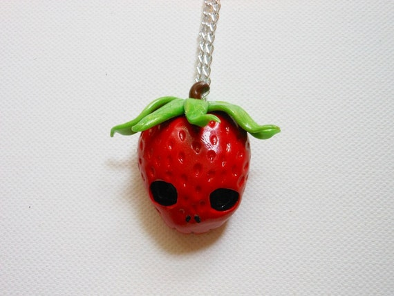Strawberry skull necklace