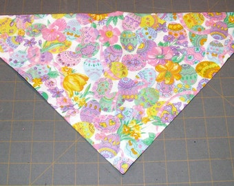 Dog Bandana, Easter, neckerchief, spring, floral, flower, egg, colored eggs