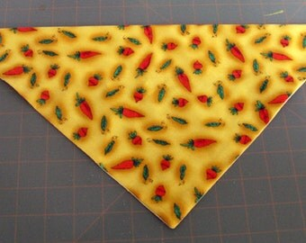 Dog Bandana, Spring, neckerchief, Easter, carrot, pea, garden, yellow