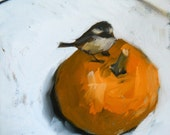 chickadee on pumpkin original painting by moulton 10 x 10 inch
