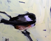 chickadee on branch original painting by moulton 6 x 6 inch