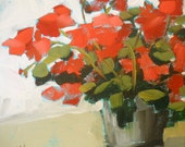 red geraniums original painting by moulton 10 x 10 inch canvas