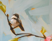 chickadee on branch with blossoms no. 2 original painting by moulton 12 x 12 inch