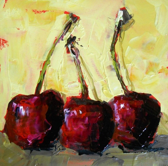 three sweet cherries original painting by moulton 5 inch
