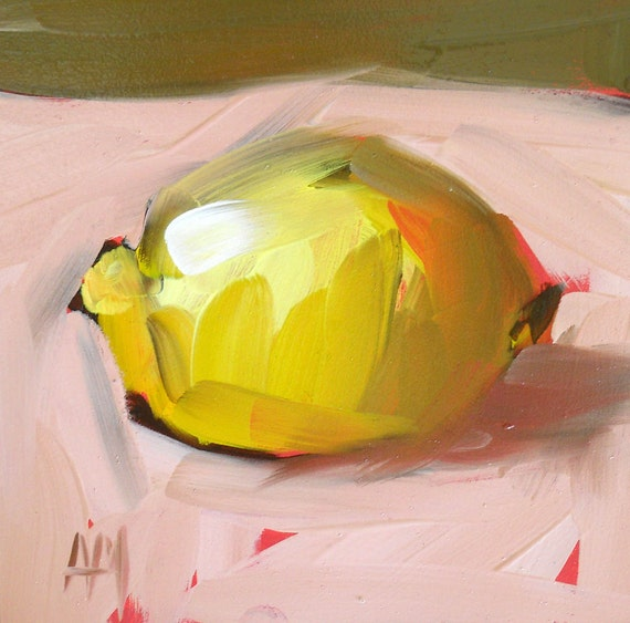 lemon painting no. 23 origiinal painting by moulton 5 x 5 inch on Hold for LREvans