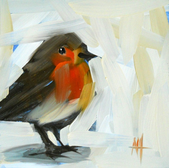 robin no. 21 original painting by moulton 5 x 5 inch