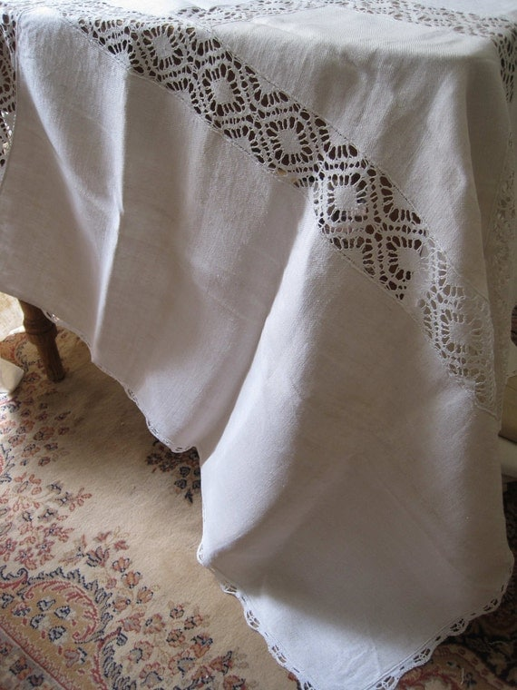 Antique French hemp, linen tablecloth with lace panels, all hand stitched