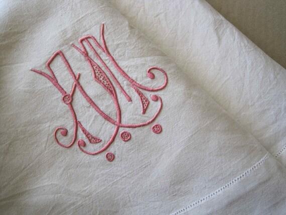 Delightful unused French vintage metis linen sheet with AM monogram and decorative ladderwork return