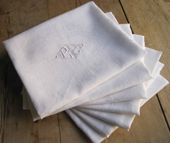 Very nice set of eight large monogrammed French vintage linen damask napkins, PP, hand embroidered monograms
