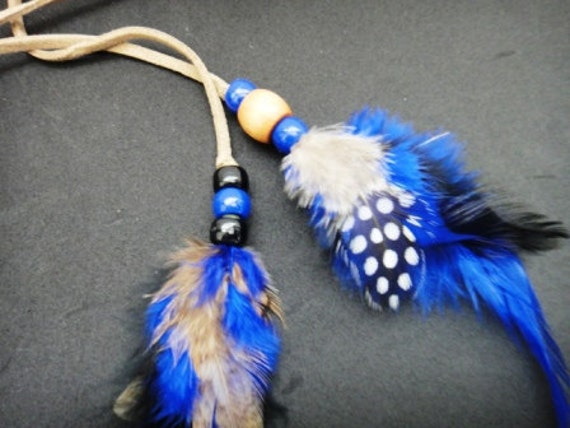 Electric Blue Beaded Feather Hair Clip,  Suede,  Indigo Feather Clip
