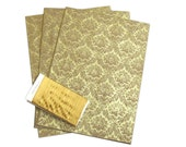 Gold Victorian Screenprinted Wrapping Paper on Kraft