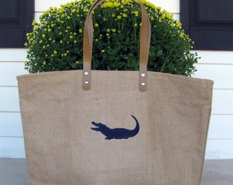 Gator Embroidered Jute Tote