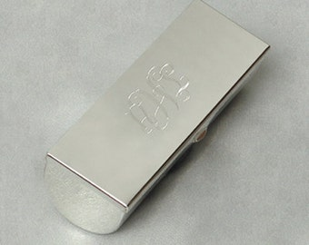 Monogrammed/Personalized Silver Plated Lipstick Case