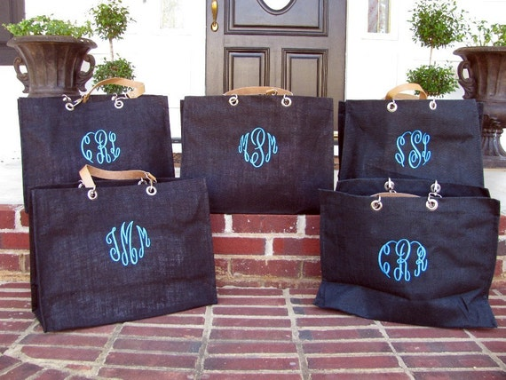 Monogrammed Jute Tote With Grommets
