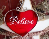Red Heart Glass Believe Ornament