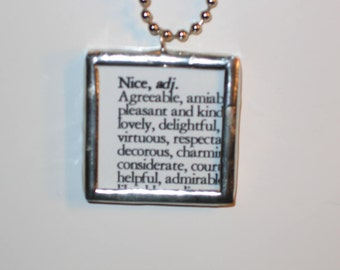 Naughty Nice Definition Stained Glass Pendant Necklace Jewelry