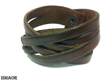 Mens Leather Cuff Bracelet, Brown Leather Bracelet, Leather wrap twisted bracelet cuff