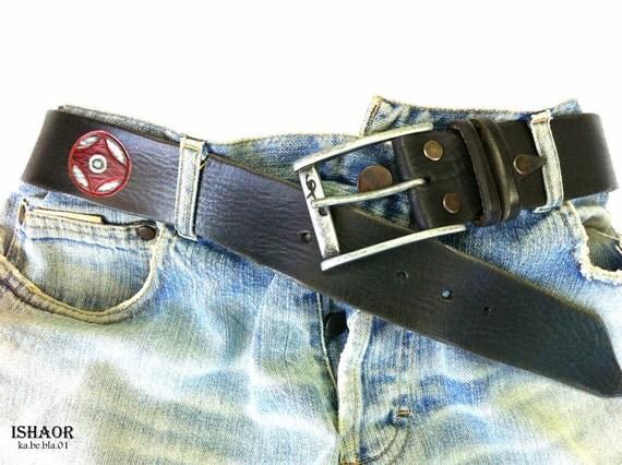 Black  Leather belt  with carved Kanku handmade by ishaor